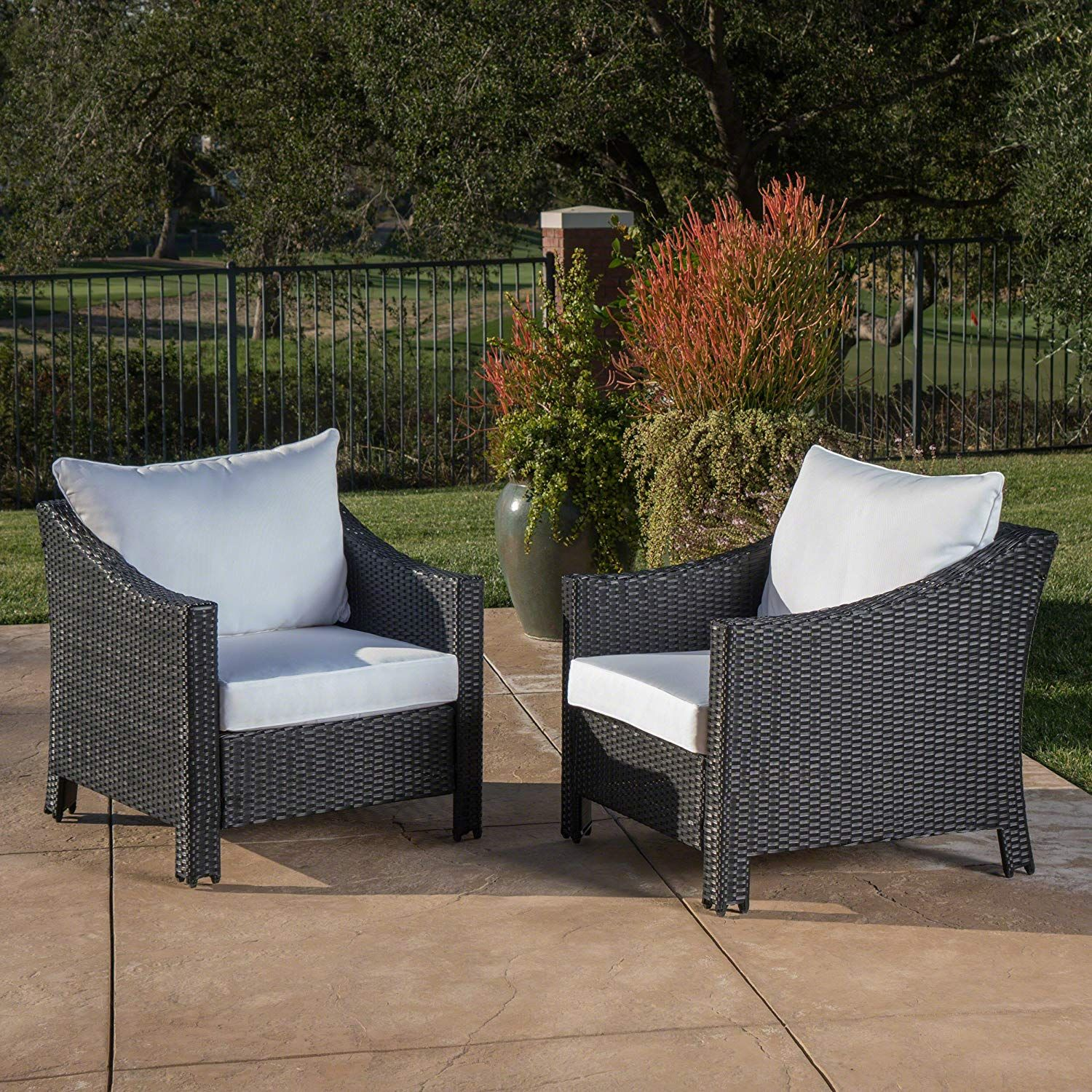 Great Deal Furniture Stonewell Outdoor Black Wicker Club Chairs With White Water Resistant Cushions Wicker Patio Chairs Outdoor Wicker Patio Chairs