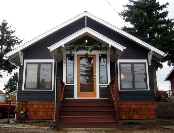 A Subtle Nod Towards Christmas House Exterior Blue Navy Houses Wood Shingle Siding