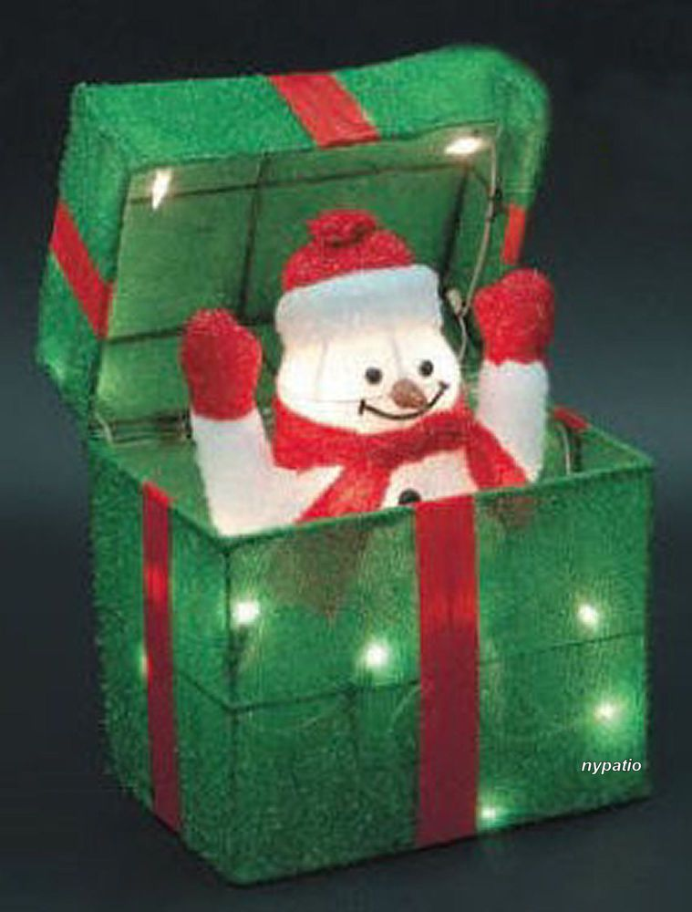 animated snowman gift box lighted tinsel indooroutdoor christmas decoration - Outdoor Lighted Tinsel Christmas Decorations