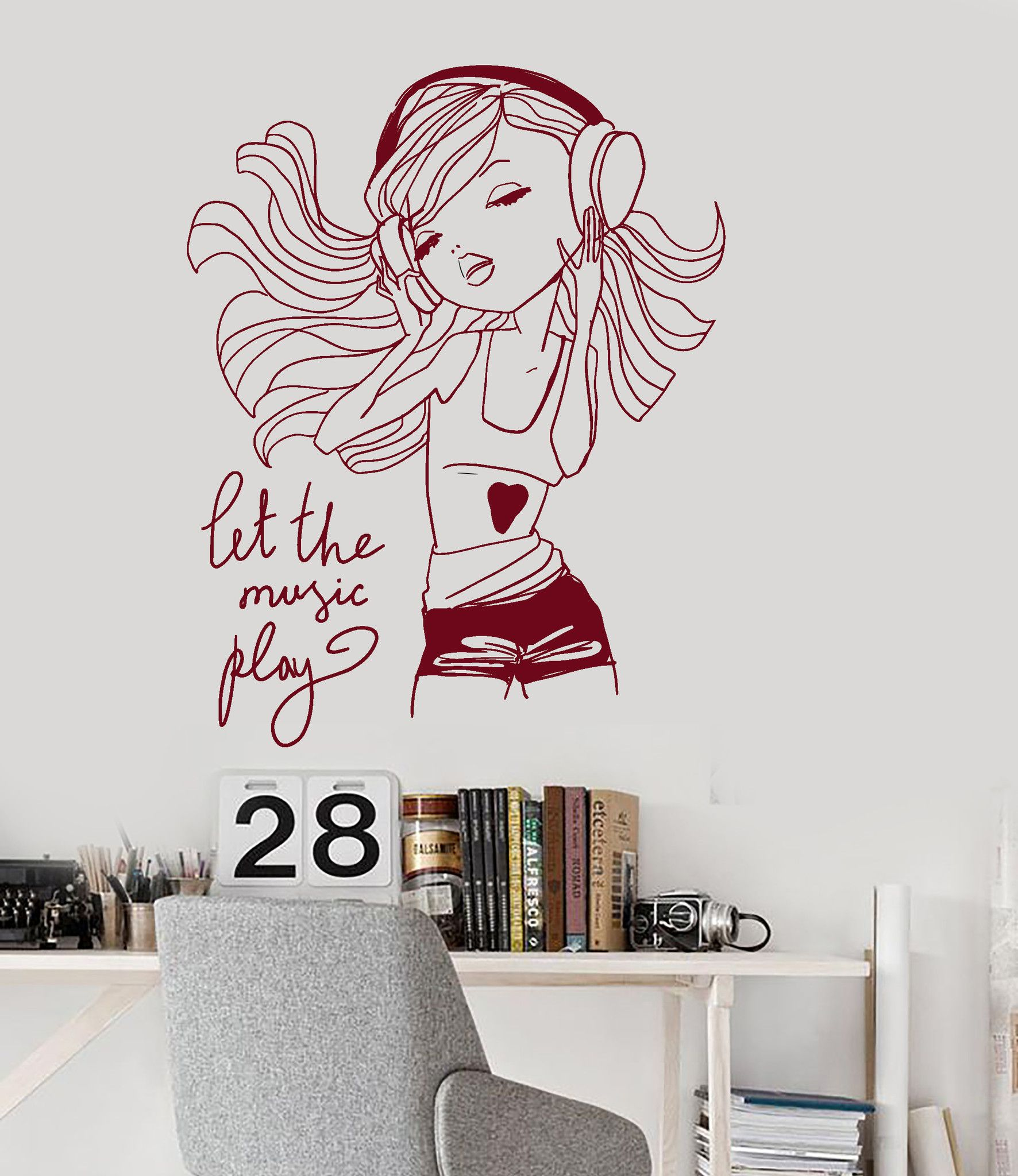 Beautiful Wall Vinyl Decal Teen Girl Music Headphones Room Decoration Art Stickersu2026