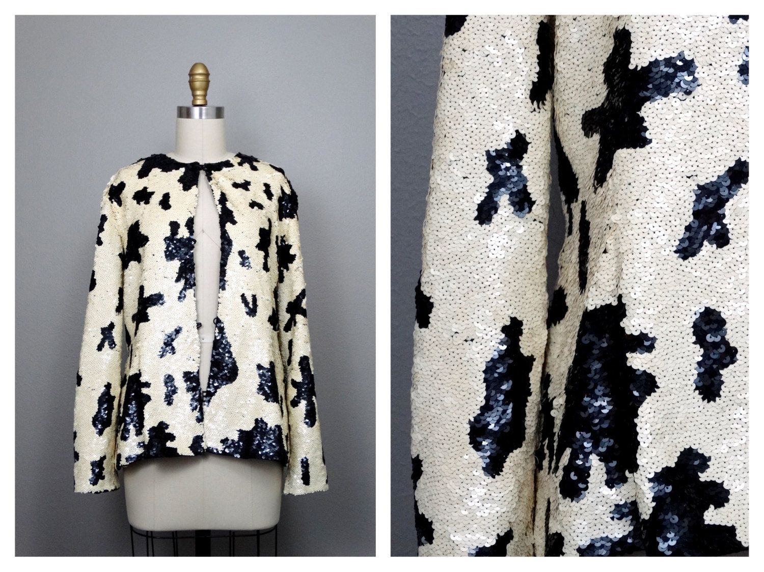 Black & Ivory Sequin Jacket // 1980s Cow Print Sequined Beaded Jacket by Jack Bryan by braxae on Etsy