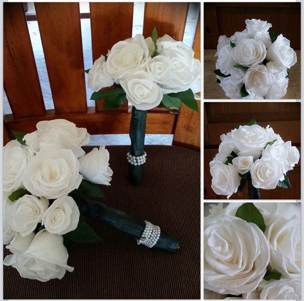 Wedding decorations in uganda  White Paper Roses Bridal Bouquet Shabby Chic  Wedding