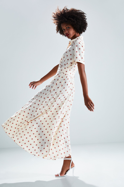 3de7970fca265 Long polka dot dress in 2019 | Spring | Dresses, Dot dress, Ruched dress