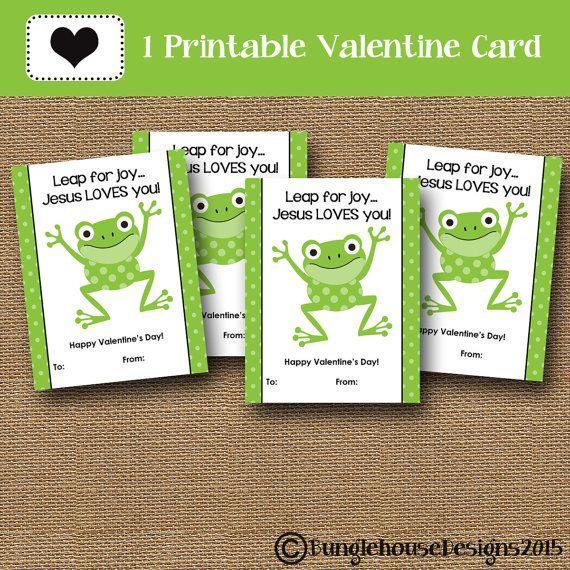 Frog Valentines Jesus Loves You Leap For Joy Christian Valentine Classroom Exchange Instant Download Digital Diy Printable Christian Valentines Classroom Valentine Valentines Diy
