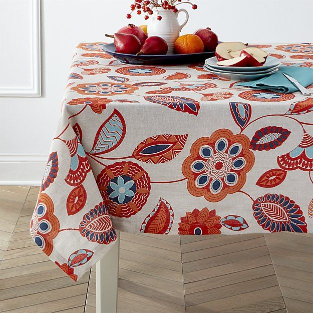 Anju 60 Square Tablecloth Crate And Barrel Table Cloth White