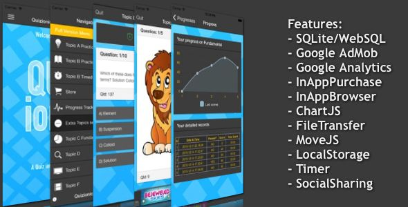 Quizionic v143 \u2013 A Quiz App Template for Ionic Framework with