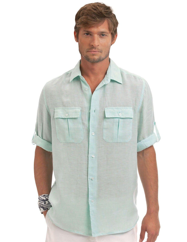 Margarita Linen Pilot Shirt - Men's Green Linen Shirt | Island ...