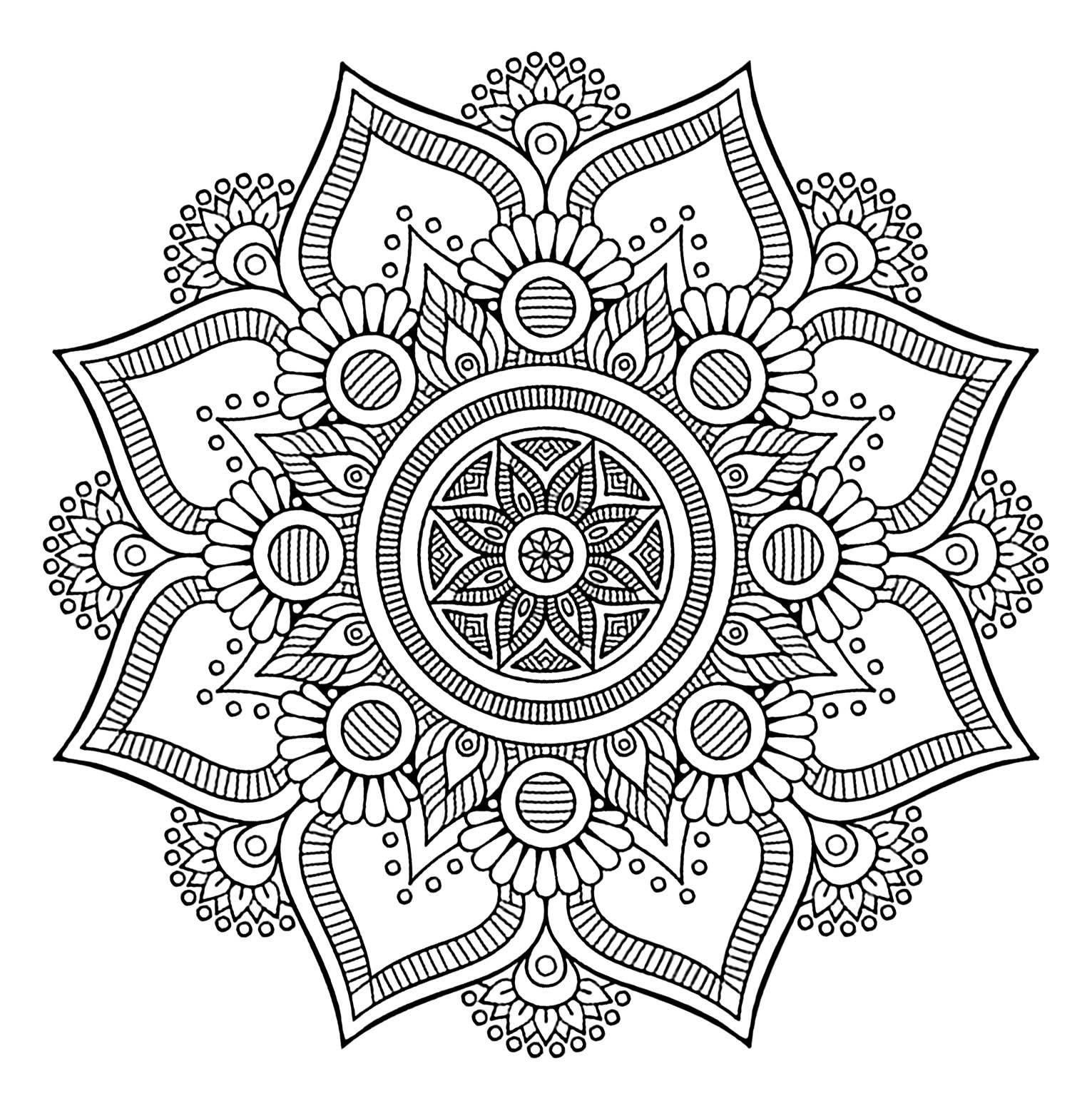 Cool Mandala With 8 Big Petals And Vegetal Patterns Mandala Coloring Mandala Coloring Pages Abstract Coloring Pages