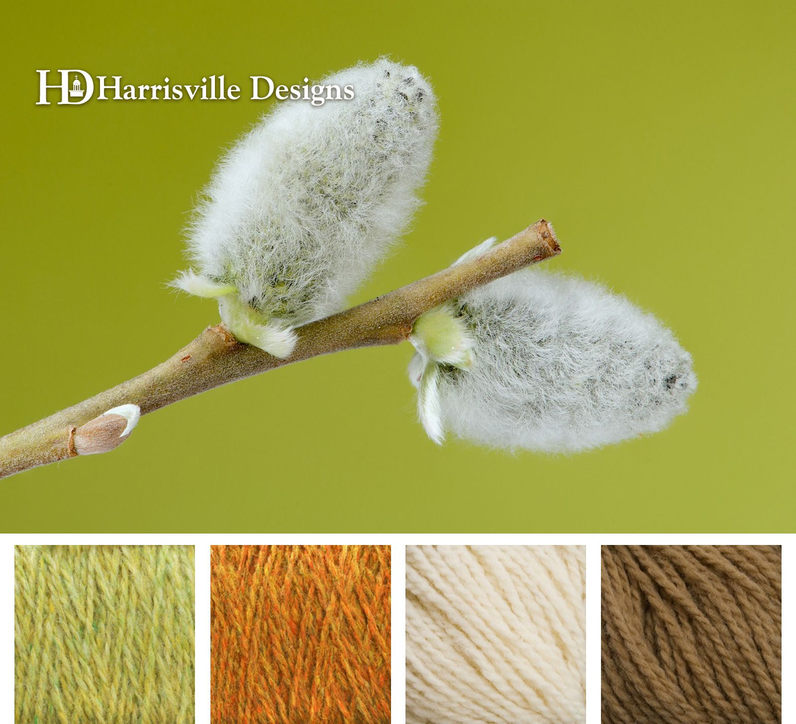 Spring buds on willow tree. Harrisville Designs yarn color palette ...