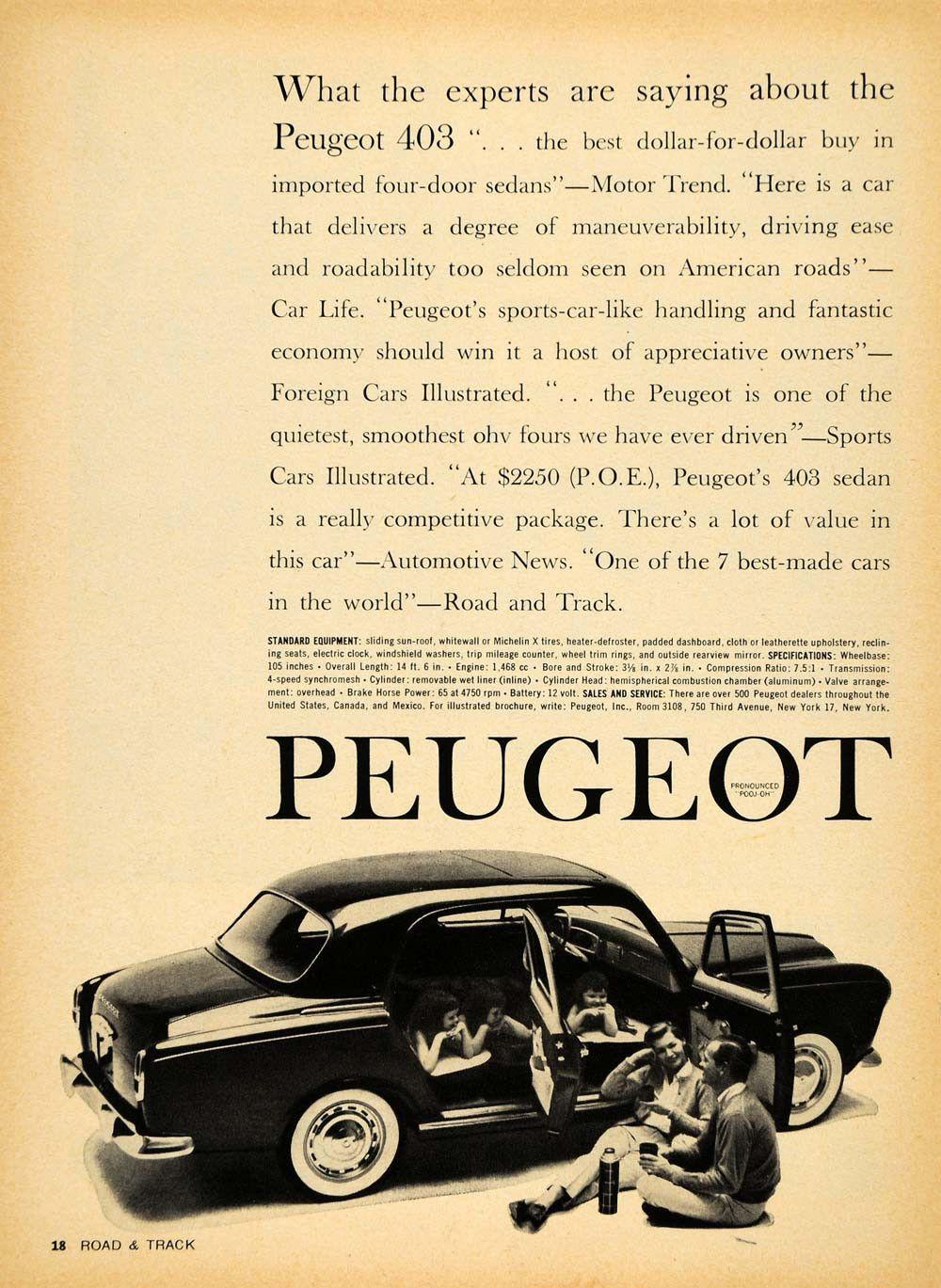 1959 Ad Peugeot 403 Foreign Vintage Sports Car Pricing - ORIGINAL ...