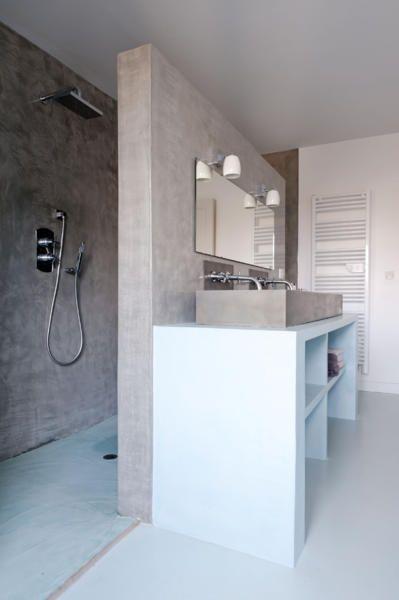 Duschbereich hinter der Wand Badezimmer, Bäder und Wohnen - dusche strukturwand