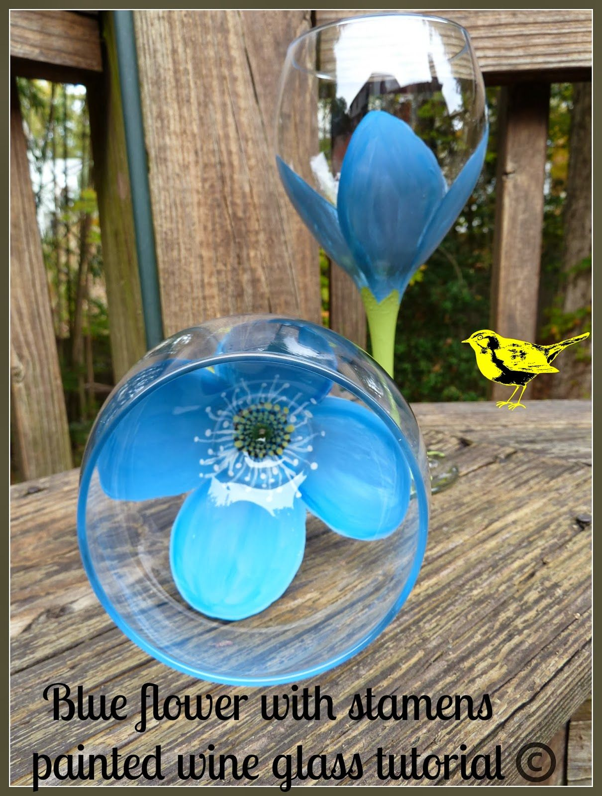 Make It Easy Crafts Blue Flower With Stamens Painted Wine Glass Tutorial