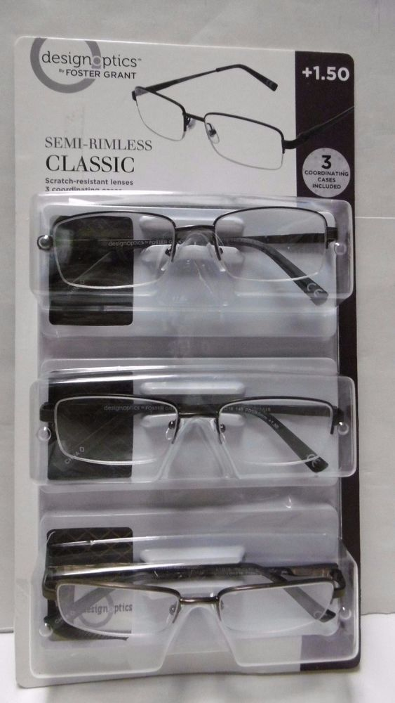 20fa060b5c2e DESIGN OPTICS SEMI-RIMLESS CLASSIC READING GLASSES MENS +1.50 3-PACK 2-COLOR  B24…