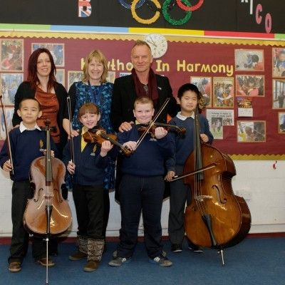 Sting and Kathryn Tickell Visit Newcastle Primary School Assembly at Sage Gateshead.