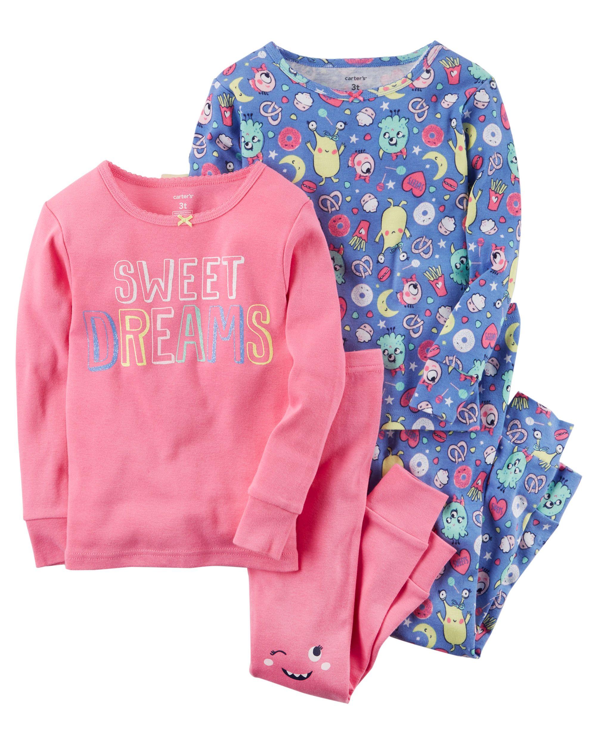 c6f4bf95a650 4-Piece Sweet Dreams Snug Fit Cotton PJs