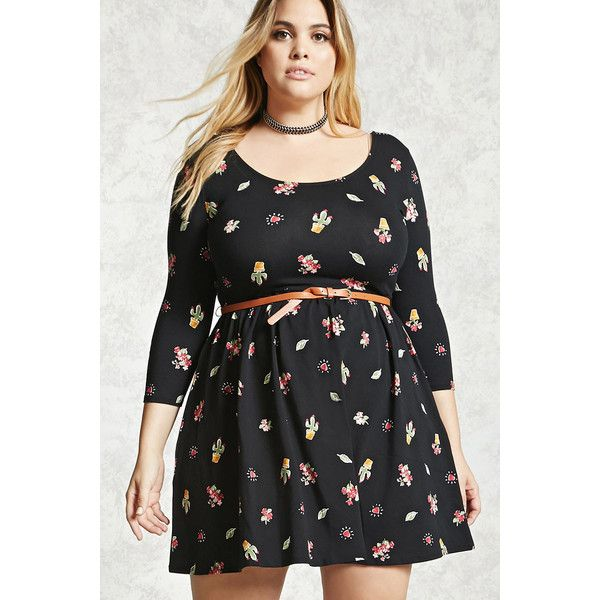 forever21 plus size belted cactus dress ($20) via polyvore