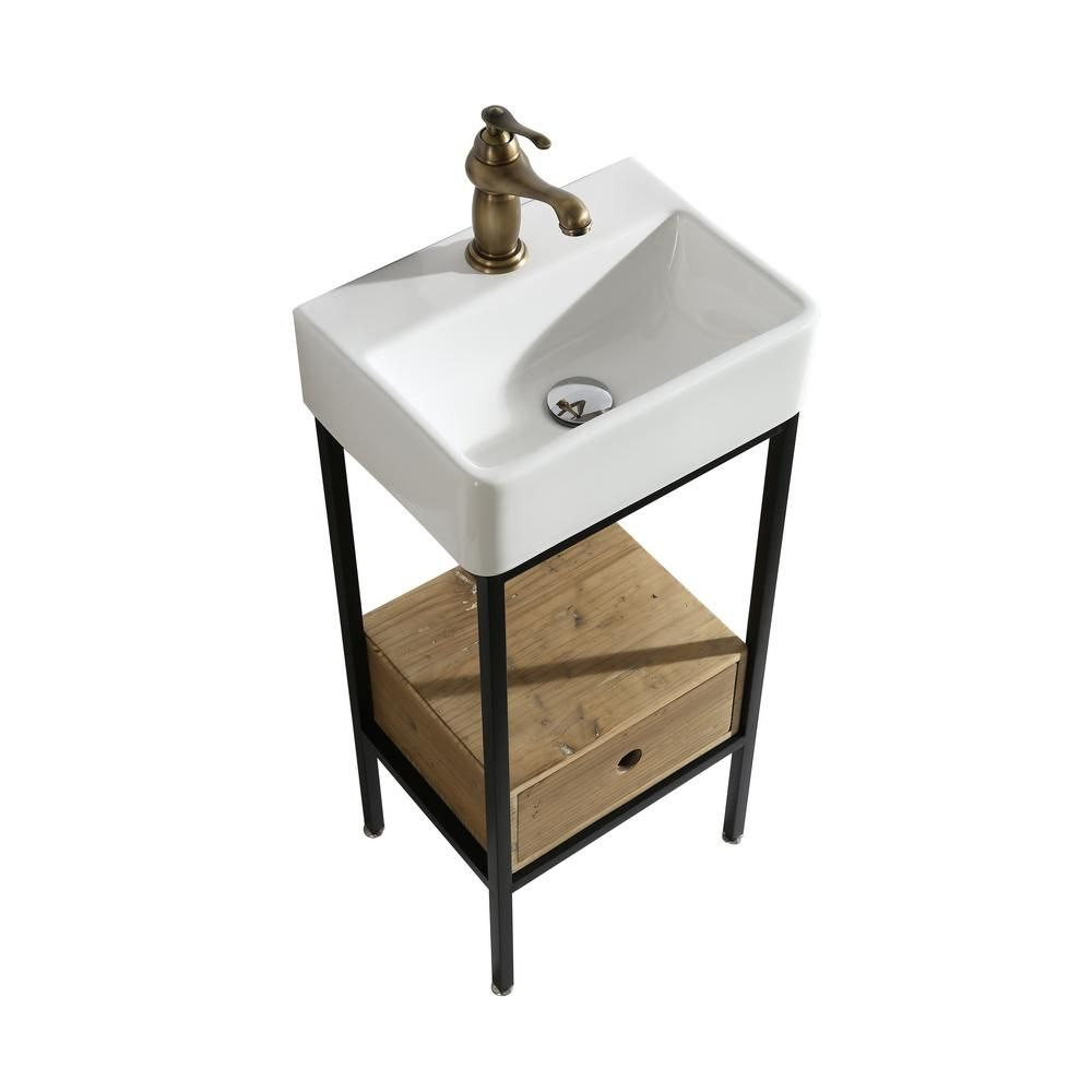 Design Element Cassidy 16 In W X 12 In D Bath Vanity In Natural With Porcelain Vanity Top In White With White Basin Dec4008 The Home Depot Single Sink Vanity Vanity [ 1000 x 1000 Pixel ]