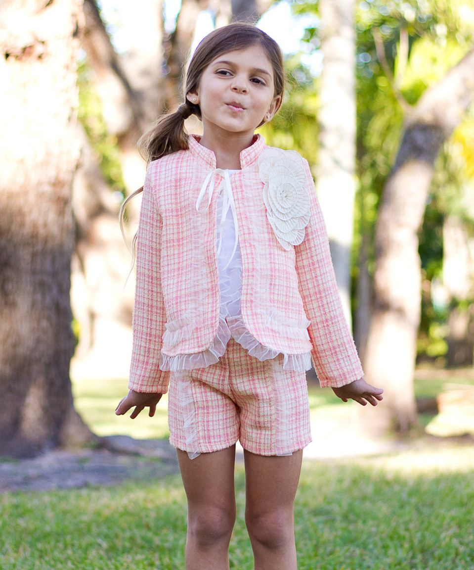 28901427c Loving this Mia Belle Baby Pink Tweed Dorothy Jacket   Shorts ...