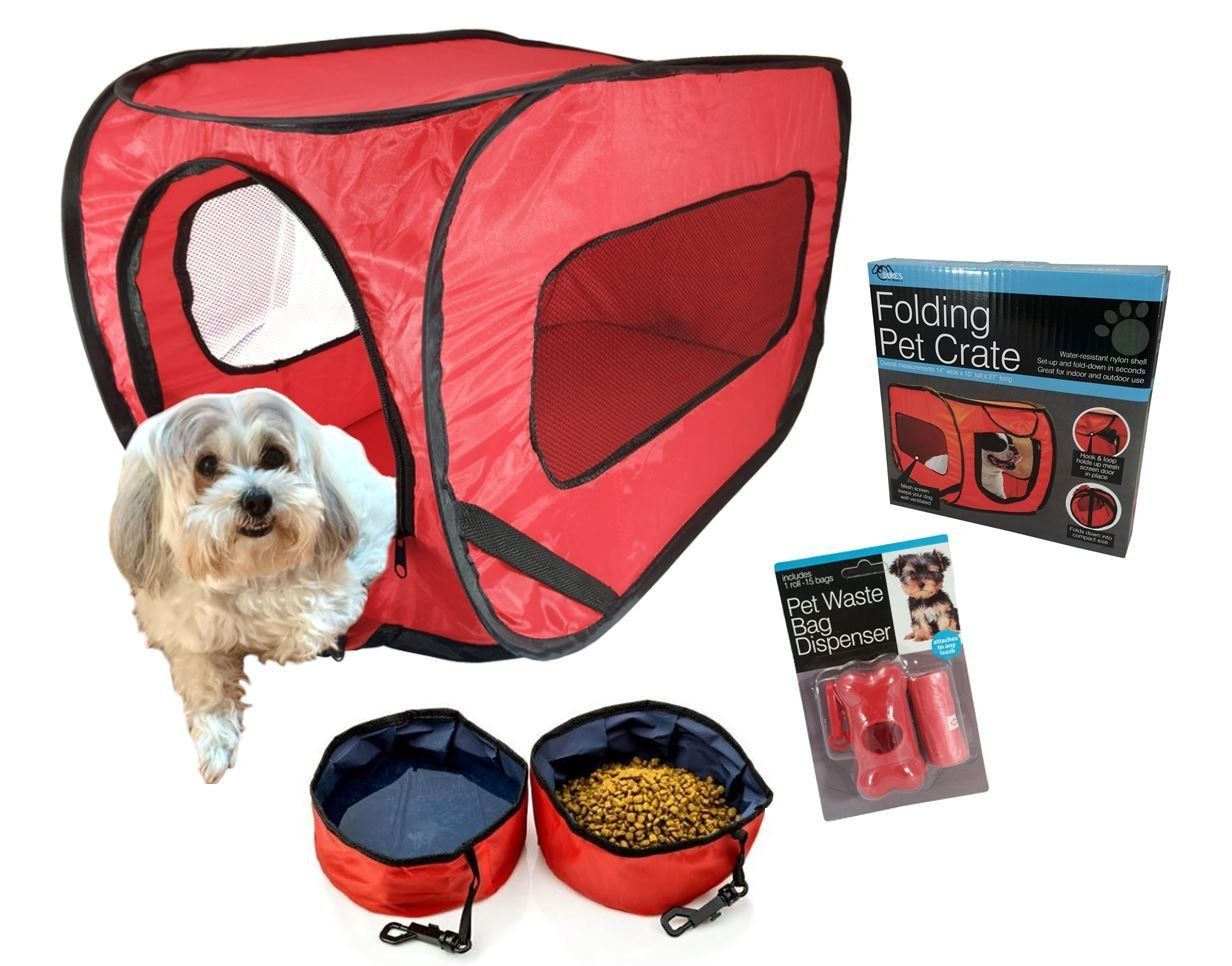 Pop Open Pet Kennel Travel Set With 2 Folding Food And Water Bowls