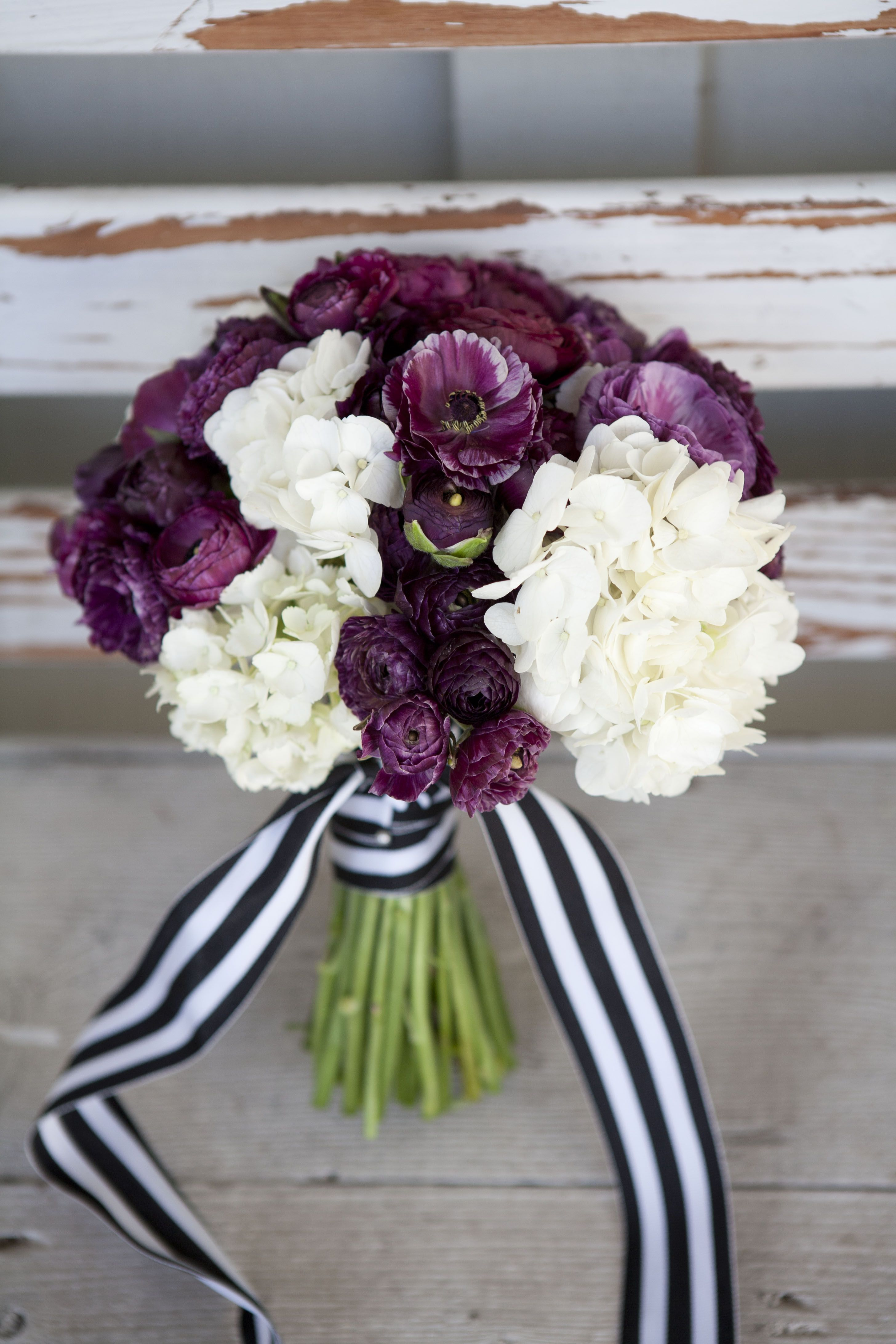Deep Plum And Cream Bridal Bouquet With Black And White Stripped