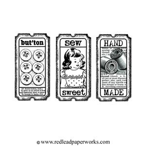 * Rubber Stamp Sew Sweet Tickets artist trading card size