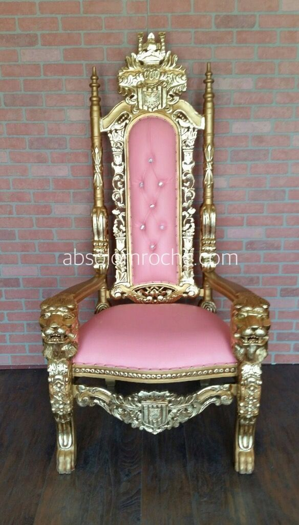 CLEARANCE | Lord Raffles Lion Throne Chair - Gold/Pink | Products ...