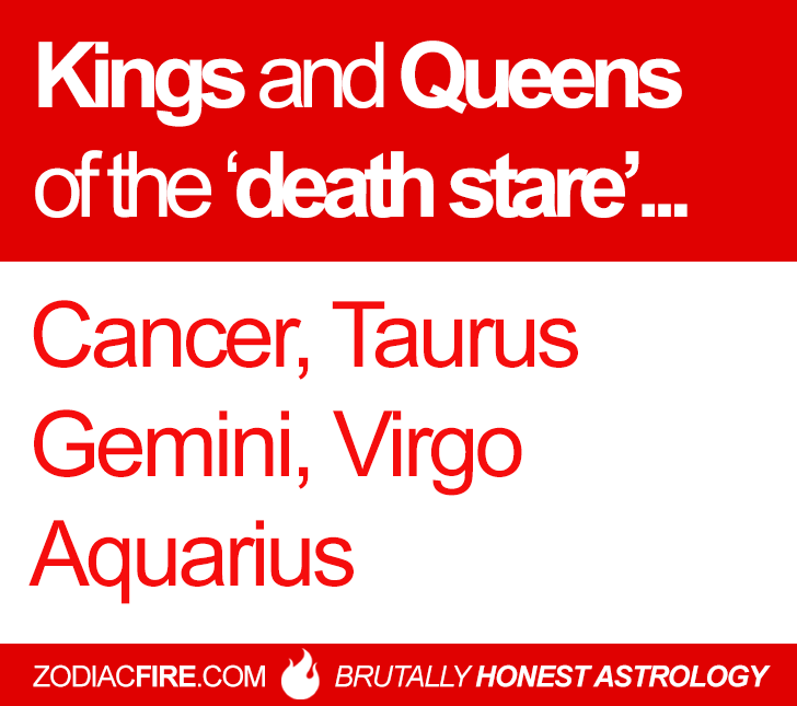 "The ""death stare"" zodiac squad… ★// Cancer Zodiac Sign ♋// Taurus // Gemini // Virgo // Aquarius // Follow Zodiac Fire Here for more!"