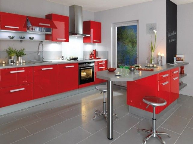 Awesome Cuisine Rouge Avec Bar Contemporary - Matkin.info - matkin ...