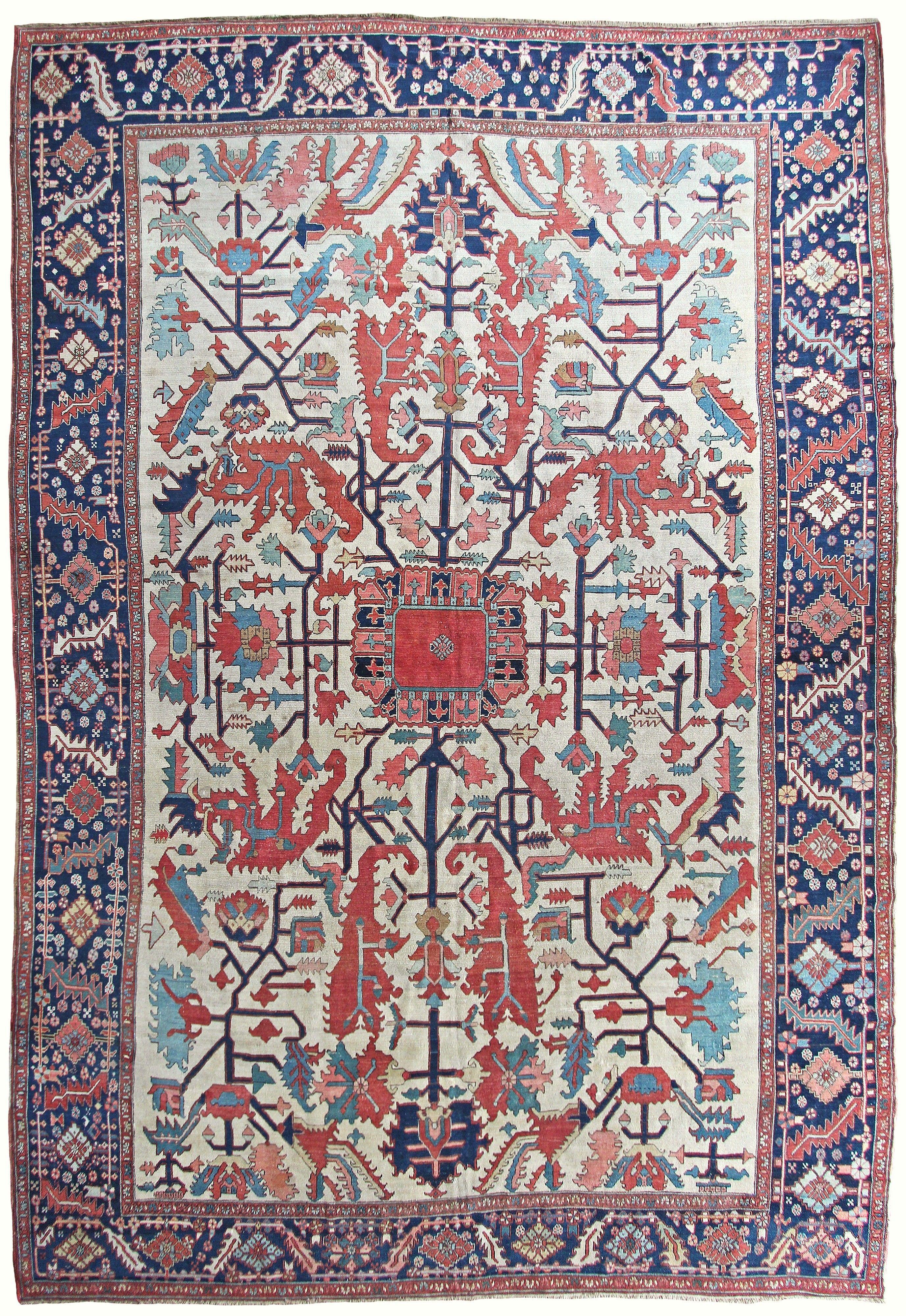 Persian Heriz Serapi Rug, 14u00273u201d X 9u00278u201d, Ca