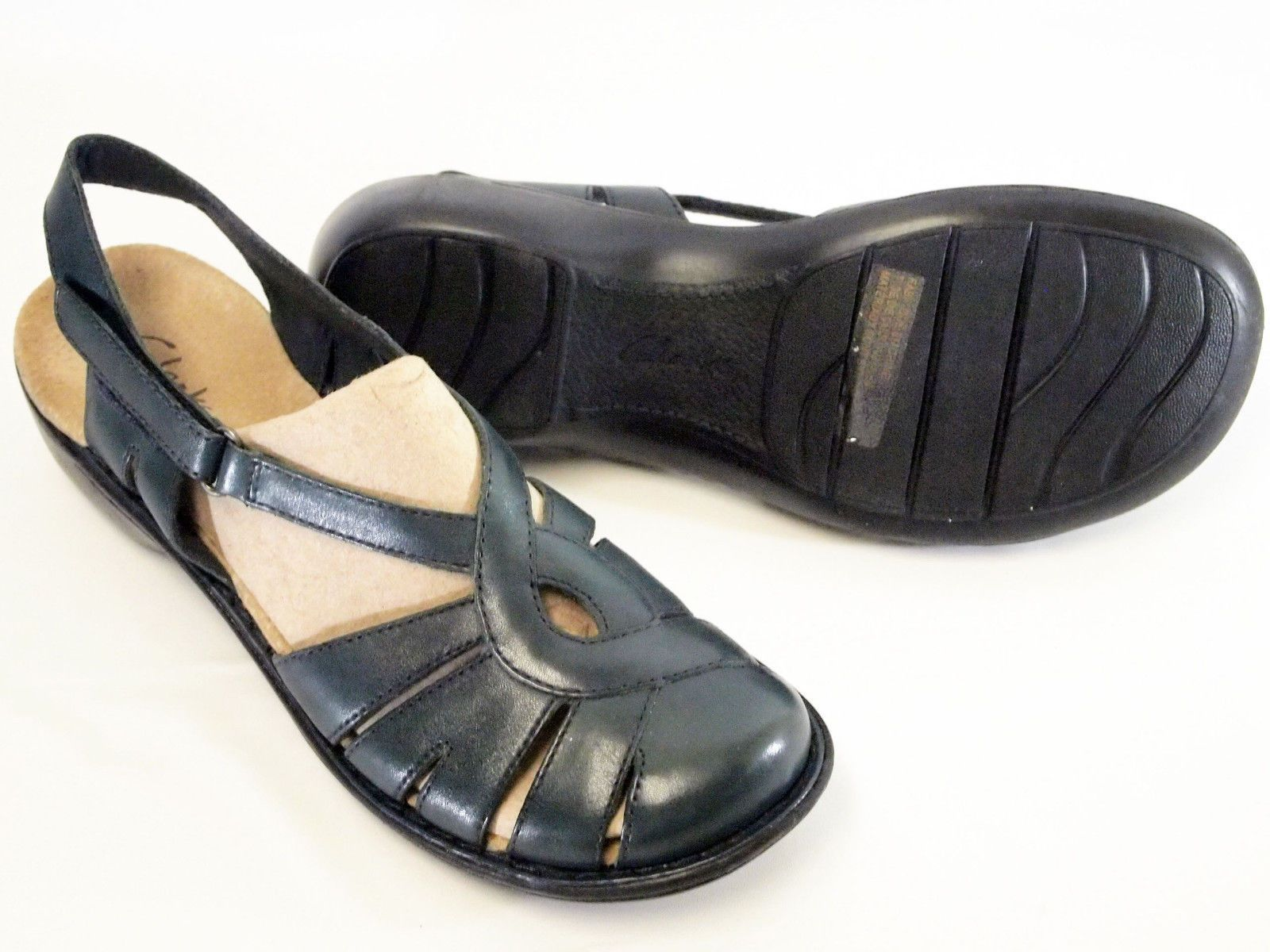 cf2a08adcc4e CLARKS BENDABLES MARBLE BLUE SLINGBACK CLOSED TOE SANDALS 37374 Womens Size  9.5