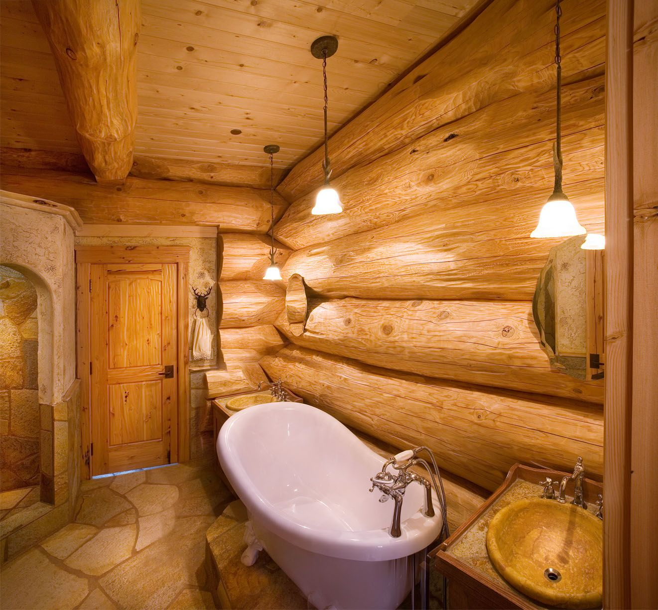 Master bedroom with jacuzzi tub  A Handcrafted EnergyEfficient Log Home in California  Tubs Bath