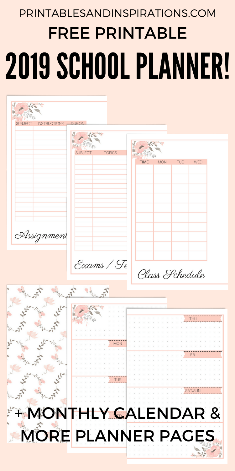 Free Printable 2019 2020 Planner For School Updated Crafts