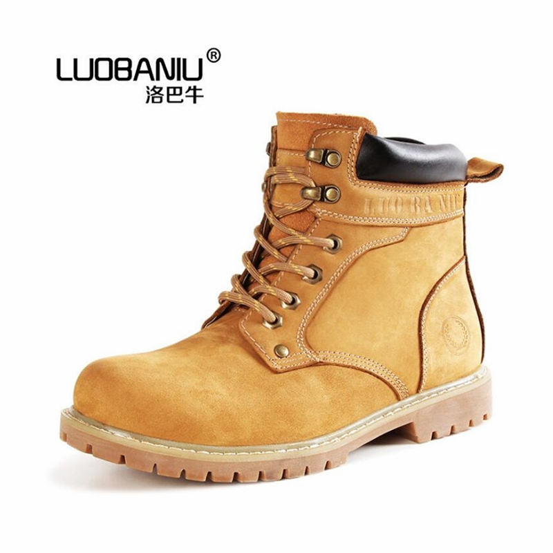 96.00$  Watch here - Casual first layer of frosted leather male Martin boots wear rubber soles boots fashion star rhubarb boots classic tooling boots  #shopstyle