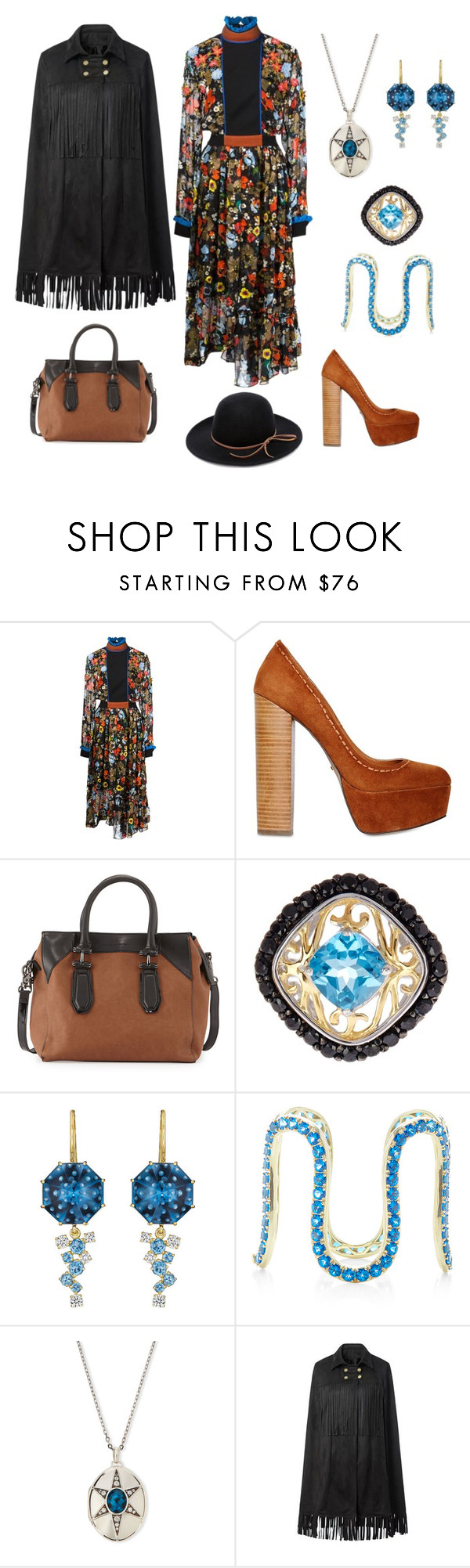 """My version of Annie Oakley"" by karen-galves on Polyvore featuring Preen, Carvela Kurt Geiger, French Connection, Olivia Leone, Sabine Getty, Monica Rich Kosann, WithChic and RHYTHM"