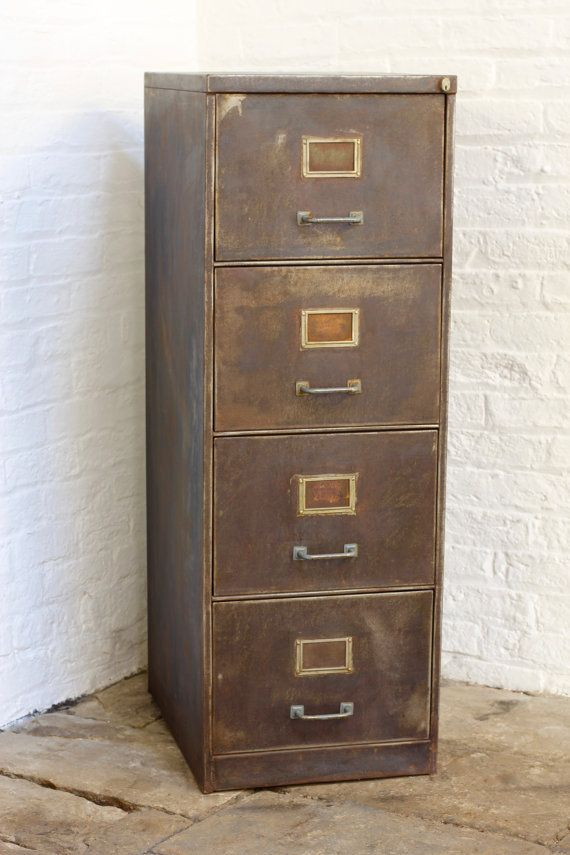 Tannery Reclaimed Vintage Urban Industrial 1940s Stripped Steel 4 Drawer Filing  Cabinet   Reclaimed Industrial Furniture
