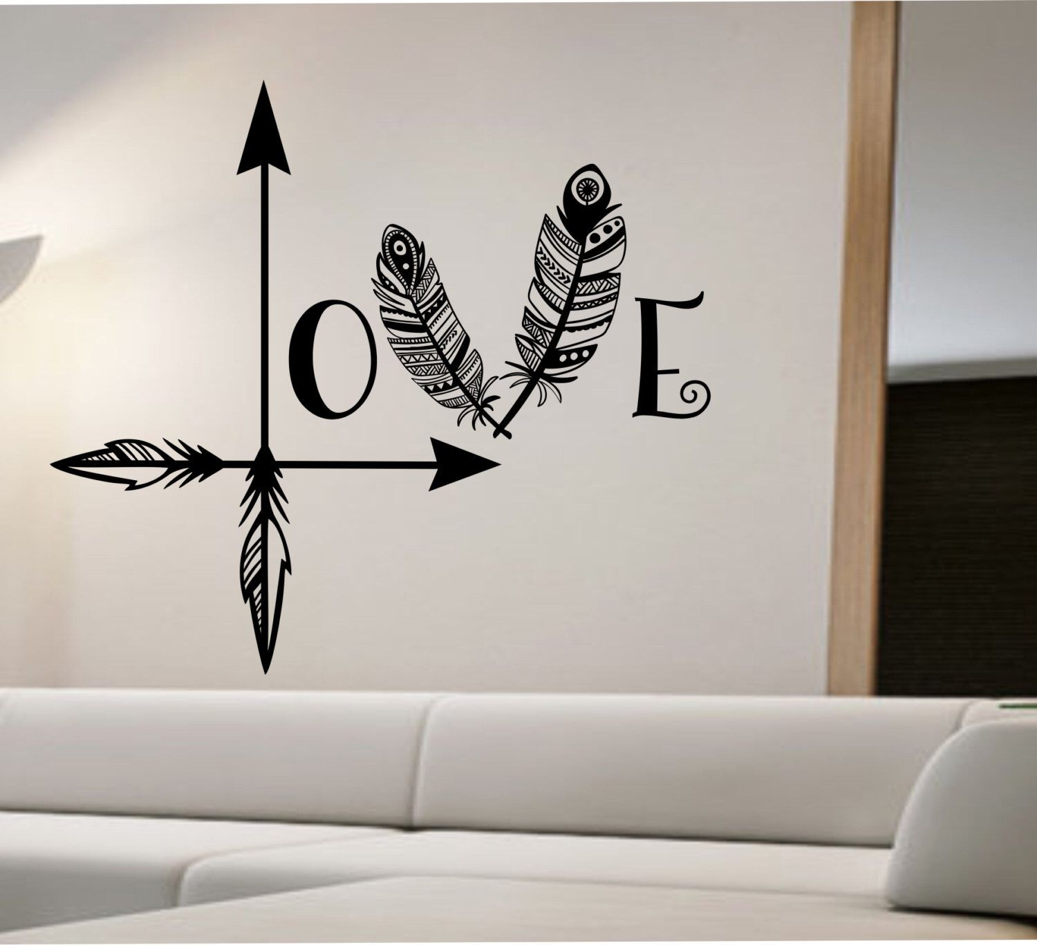 Arrow feather love wall decal namaste vinyl sticker art for Bedroom mural designs