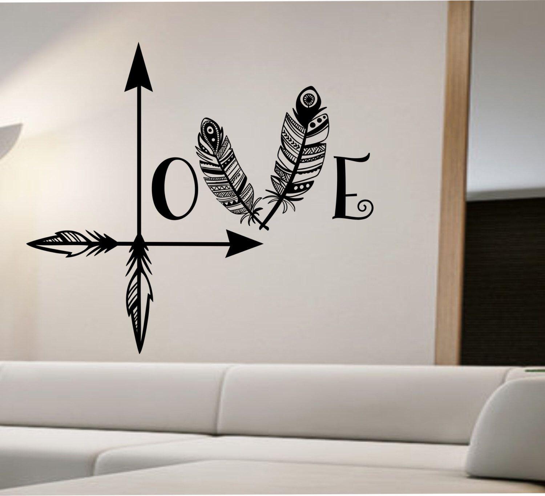 Love Arrow Wall Decal Feather Namaste Vinyl Sticker Art Decor Etsy Arrow Wall Decal Wall Decals Sticker Art