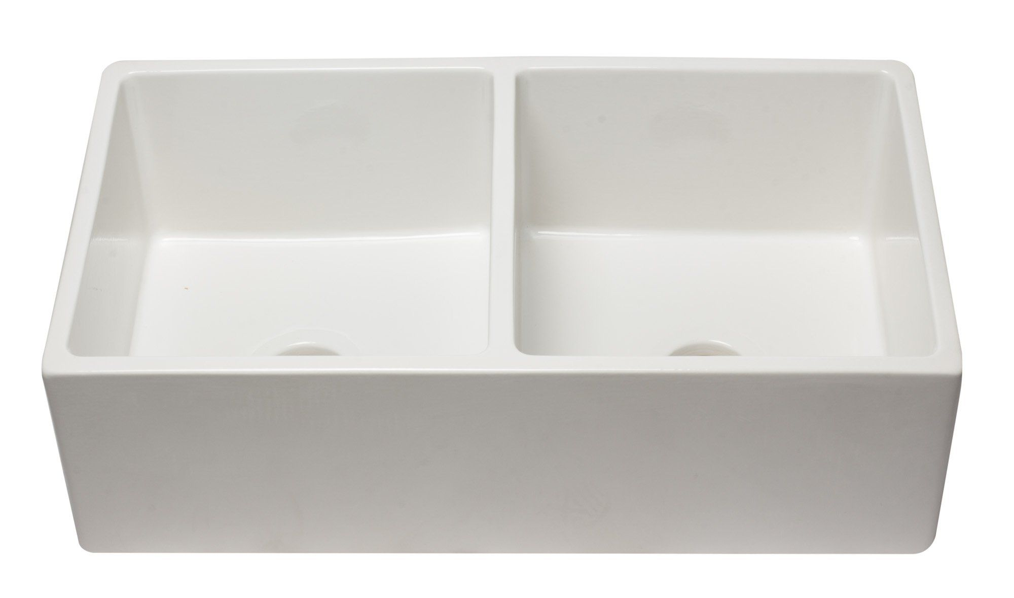 Alfi 33 Double Bowl Fireclay Farmhouse Apron Sink White