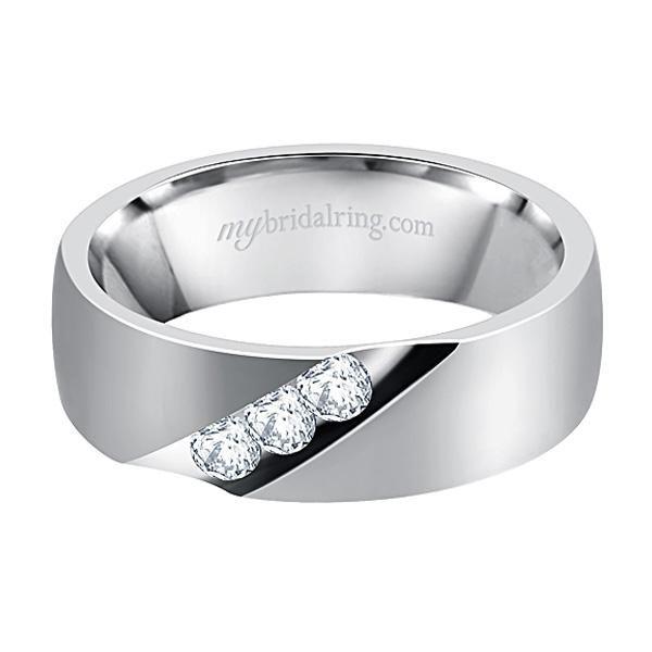 Magnificant Design Three Diamond White Gold Mens Wedding Bands