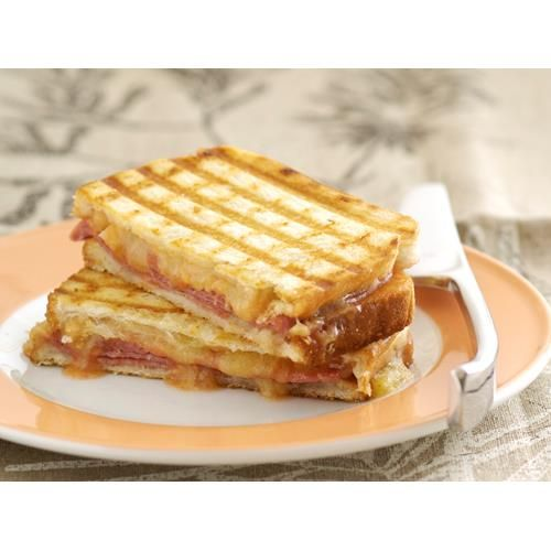 If you thought the humble bean jaffle couldn't get any better, try this version. Ham and cheese have gatecrashed the party and the results are messy, but worth it.  #Sandwich #lunch #Easy