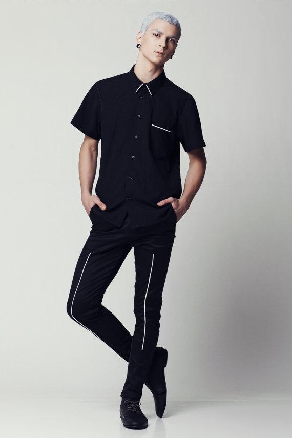 Mens Black Shirt Black Button Down Shirt Black Short Sleeve Shirt Classic Fit Slim Fit Shirt S M L Xl Fitted Shirt On Etsy 163 42