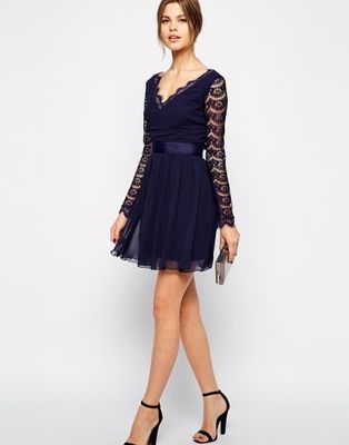 Vestido-de-renda-com-decote-em-v-Casual-mini-manga-comprida-verão-azul-marinho-sólidos-vestidos.jpg (314×400)