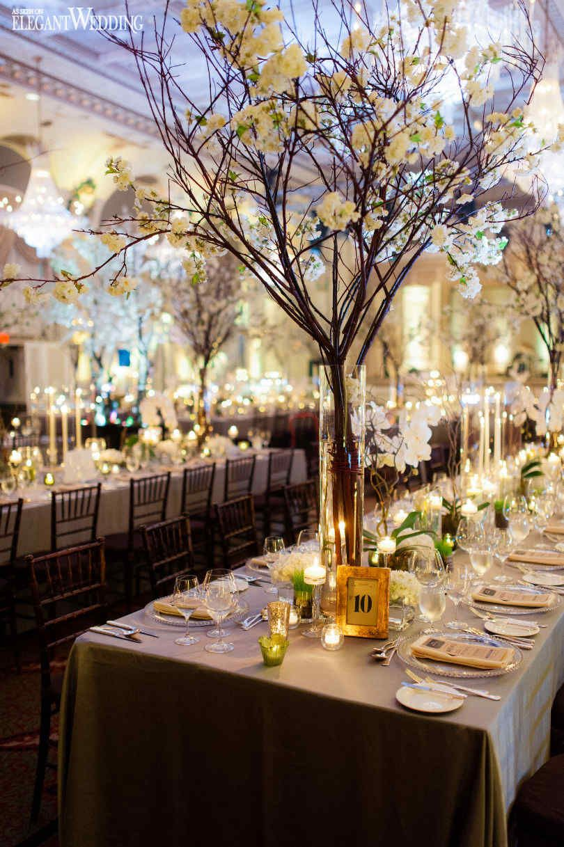 Enchanted gold and green wedding centrepieces flowers for Wedding reception centrepieces