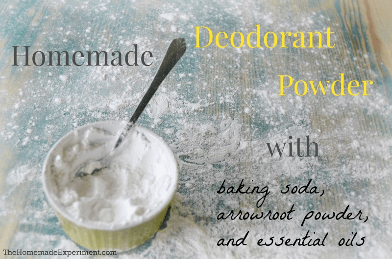 How to make a simple homemade deodorant powder using baking soda, arrowroot powder or cornstarch, and essential oils! It works great and smells even better!