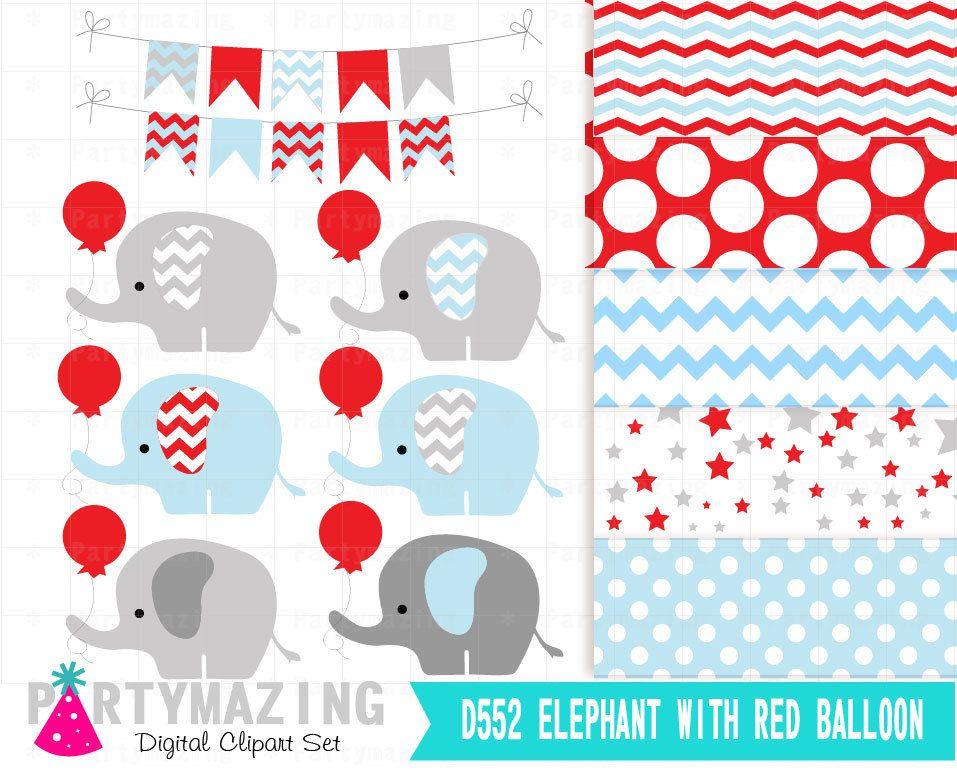 elephant clipart set blue and grey elephant with red balloon baby