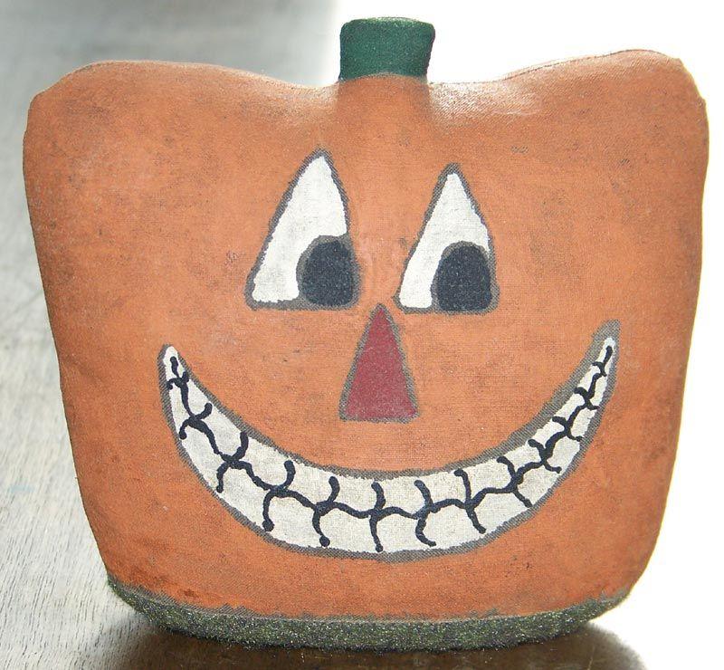 Vintage Weighted Stuffed Halloween Jack-O-Lantern JOL Pumpkin offered by Cousins Antiques