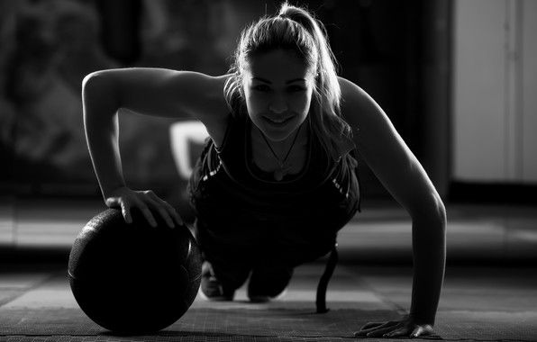 Wallpaper ball training, crossfit, shadows, woman, workout ...