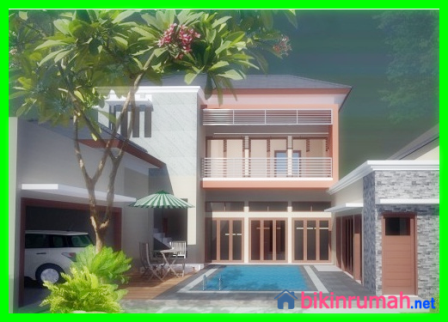 desain rumah sederhana 2 lantai dengan kolam renang dan