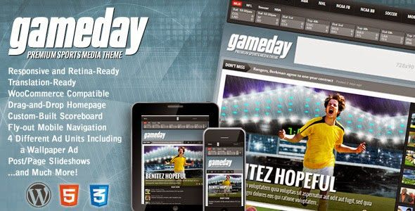 Gameday v301 WordPress Sports Media Theme Blogger Template Web - scoreboard template