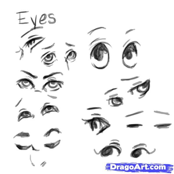 Step 3 Now We Ll Look Over The Features Of The Face Starting From The Top And Working Down First Up Is Th Eye Expressions Easy Drawings Simple Face Drawing